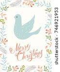 christmas dove. holiday... | Shutterstock .eps vector #746921953