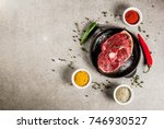 fresh raw meat. a piece of lamb'... | Shutterstock . vector #746930527