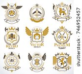 heraldic vector signs decorated ... | Shutterstock .eps vector #746952457