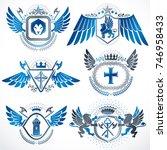 collection of vector heraldic... | Shutterstock .eps vector #746958433