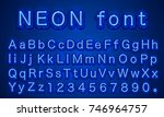 neon city color blue font.... | Shutterstock .eps vector #746964757