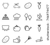 thin line icon set   hex... | Shutterstock .eps vector #746974477