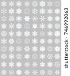 set of different snowflakes on... | Shutterstock .eps vector #746992063