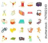 fun hobby icons set. cartoon...   Shutterstock . vector #747002143