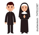 cute cartoon catholic priest... | Shutterstock .eps vector #747011587