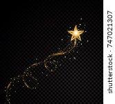 gold glittering spiral star... | Shutterstock .eps vector #747021307