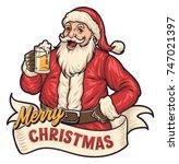 santa drink beer | Shutterstock .eps vector #747021397