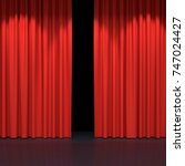 red stage curtains. luxury red... | Shutterstock . vector #747024427