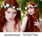 beautiful red haired girl with... | Shutterstock . vector #747027763