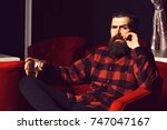 bearded man  long beard  brutal ... | Shutterstock . vector #747047167