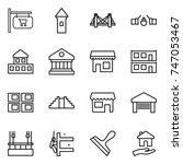 thin line icon set   shop... | Shutterstock .eps vector #747053467
