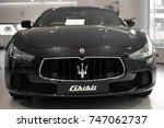black maserati ghibli front...   Shutterstock . vector #747062737