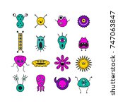 set of icons with monsters.... | Shutterstock .eps vector #747063847