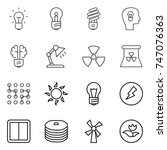 thin line icon set   bulb  head ... | Shutterstock .eps vector #747076363