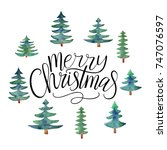 merry christmas vector text... | Shutterstock .eps vector #747076597