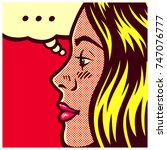 pop art style comic book panel... | Shutterstock .eps vector #747076777