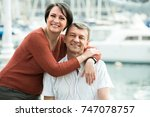 portrait of happy mature couple ... | Shutterstock . vector #747078757
