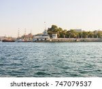 military navy ships in a sea... | Shutterstock . vector #747079537