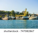 military navy ships in a sea... | Shutterstock . vector #747082867