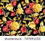 Flower Pattern Black Background