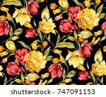 flower pattern black background | Shutterstock . vector #747091153