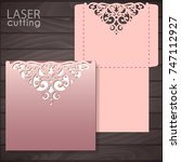die laser cut wedding card... | Shutterstock .eps vector #747112927