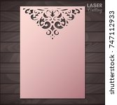 paper greeting card with lace... | Shutterstock .eps vector #747112933