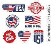 vector set of made in the usa... | Shutterstock .eps vector #747115873