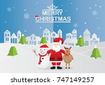 paper art of happy santa claus... | Shutterstock .eps vector #747149257