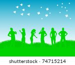 raster illustration friends... | Shutterstock . vector #74715214
