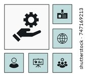 gear on hand icon business set... | Shutterstock .eps vector #747169213