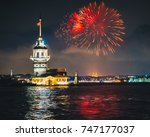 Small photo of Maiden's Tower (kiz kulesi) at Istanbul of turkey in the night with beautiful firework