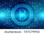 financial concept with bitcoins ... | Shutterstock . vector #747179953