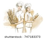 bakers  man and woman  holding... | Shutterstock .eps vector #747183373