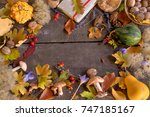 autumn background with leaves ... | Shutterstock . vector #747185167
