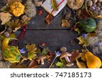 autumn background with leaves ... | Shutterstock . vector #747185173