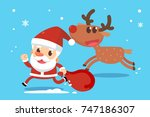 merry christmas. santa claus... | Shutterstock .eps vector #747186307