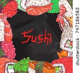 cafe menu background with sushi ... | Shutterstock .eps vector #747186583