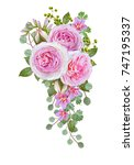 floral background. garland of... | Shutterstock . vector #747195337