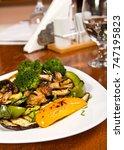vegetarian meal consisting of... | Shutterstock . vector #747195823