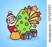 vector illustration with santa... | Shutterstock .eps vector #747197557