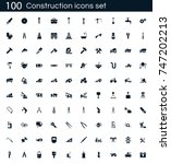 construction icon set with 100... | Shutterstock .eps vector #747202213