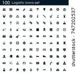 logistics icon set with 100