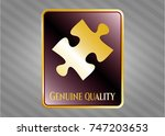 shiny badge with jigsaw puzzle ... | Shutterstock .eps vector #747203653