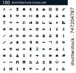 architecture icon set with 100... | Shutterstock .eps vector #747204787
