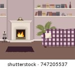 purple living room with... | Shutterstock .eps vector #747205537