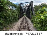 view along the railway. old... | Shutterstock . vector #747211567