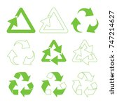 green triangular recycle icons... | Shutterstock .eps vector #747214627
