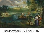 fishing  by edouard manet  1862 ... | Shutterstock . vector #747216187