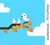 mother bird feeding his... | Shutterstock .eps vector #747229543